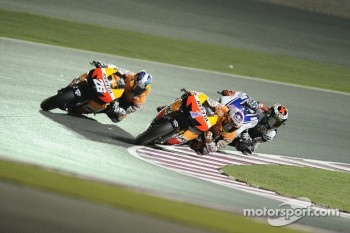 Dani Pedrosa, Repsol Honda Team, Casey Stoner, Repsol Honda Team, Jorge Lorenzo, Yamaha Factory Racing