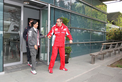 Monisha Kaltenborn, Sauber F1 Team Managing Director and Stefano Domenicali, Scuderia Ferrari General Director leave a meeting of the teams concerning the upcoming Bahrain GP