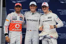 2nd place in Qualifying Lewis Hamilton, Mercedes AMG F1 and 3rd place Michael Schumacher, Mercedes AMG F1
