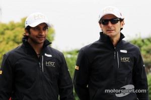 Narain Karthikeyan, Hispania Racing F1 Team, with team mate Pedro De La Rosa, HRT Formula 1 Team