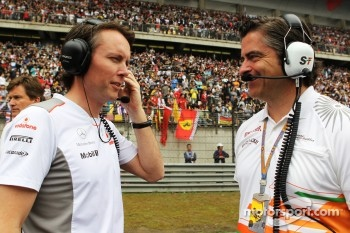 Sam Michael, McLaren Sporting Director with Andy Stevenson, Sahara Force India F1 Team Manager