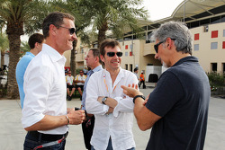 David Coulthard, Red Bull Racing and Scuderia Toro Advisor / BBC Television Commentator with Paul Stewart, and Damon Hill, Sky Sports Presenter
