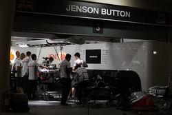 McLaren pit garage for Jenson Button, McLaren Mercedes at night