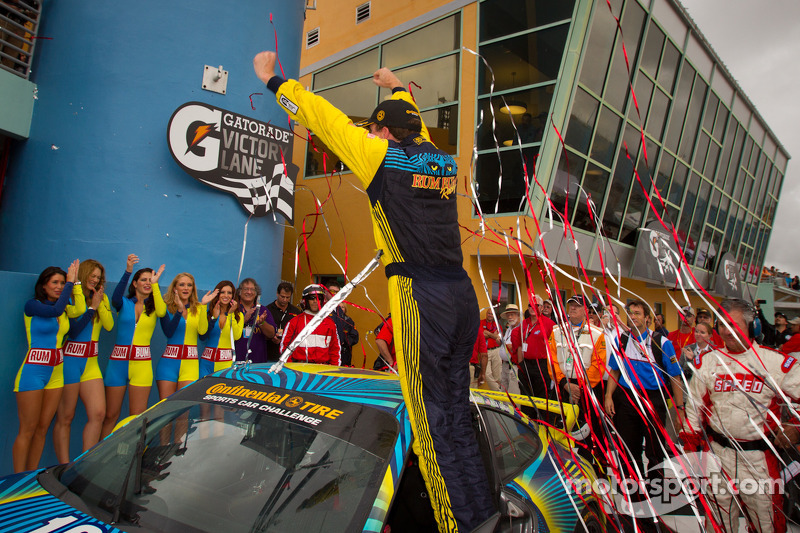 Victory lane: GS and overall winner Matt Plumb celebrates