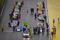 Starting grid on track