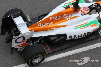 New exhaust on the Force India, Paul di Resta, Sahara Force India Formula One Team