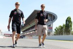 Sebastian Vettel, Red Bull Racing walks the circuit with Heikki Huovinen, Personal Trainer