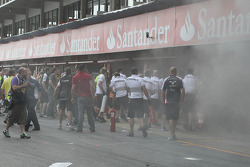 A fire breaks out in the Williams F1 Team pit area