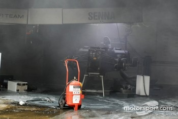 The aftermath of a fire in the Williams F1 Team pit area