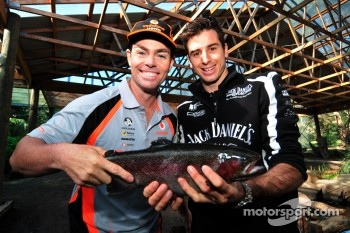Craig Lowndes and Rick Kelly go fishing