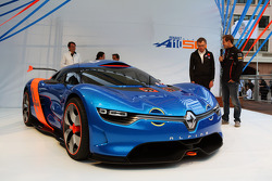 Carlos Tavares, Renault COO and Sebastian Vettel, Red Bull Racing unveil the Renault Alpine A110-50 Concept car on the Red Bull Energy Station