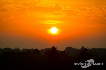 Sunrise on Indianapolis Motor Speedway