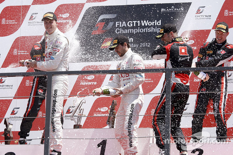 Podium: winners Frederic Makowiecki, Stef Dusseldorp, second place Markus Winkelhock, Marc Basseng, third place Thomas Jäger, Nicky Pastorelli