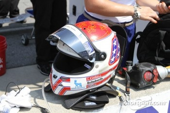 The helmet of Charlie Kimball, Novo Nordisk Chip Ganassi Racing Honda