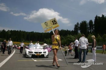 Grid girl of Andy Priaulx, BMW Team RBM BMW M3 DTM