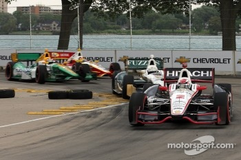 Ryan Briscoe, Team Penske Chevrolet, Ed Carpenter, Ed Carpenter Racing Chevrolet, Simona De Silvestro, Lotus-HVM Racing, Helio Castroneves, Team Penske Chevrolet