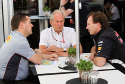 Paul Hembery, Pirelli Motorsport Director with Dr Helmut Marko, Red Bull Motorsport Consultant and Christian Horner, Red Bull Racing Team Principal