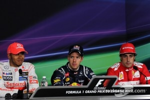 The post qualifying FIA Press Conference, Lewis Hamilton, McLaren Mercedes, second; Sebastian Vettel, Red Bull Racing, pole position; Fernando Alonso, Scuderia Ferrari, third