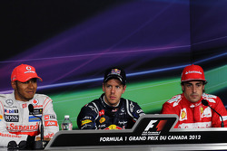 The post qualifying FIA Press Conference, Lewis Hamilton, McLaren Mercedes, second; Sebastian Vettel, Red Bull Racing, pole position; Fernando Alonso, Scuderia Ferrari, third