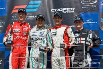 Podium from left: Alex Lynn, Jazeman Jaafar, Felix Serralles and Spike Goddard