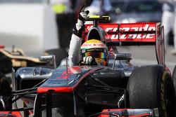 Race winner Lewis Hamilton, McLaren Mercedes celebrates at the end of the race