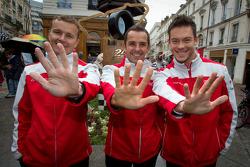 Hand imprint ceremony: 2011 24 Hours of Le Mans winners Marcel Fässler, Benoit Tréluyer and Andre Lotterer