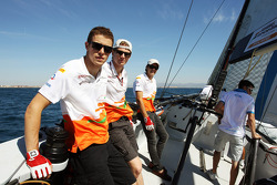 Paul di Resta, Sahara Force India F1; Nico Hulkenberg, Sahara Force India F1 and Jules Bianchi, Sahara Force India F1 Team Third Driver on the Aethra America's Cup Boat