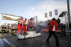 Podium: winners Sébastien Loeb and Daniel Elena, Citroën DS3 WRC, Citroën Total World Rally Team, second place Mikko Hirvonen and Jarmo Lehtinen, Citroën DS3 WRC, Citroën Total World Rally Team, third place Petter Solberg and Chris Patterson, Ford Fiesta