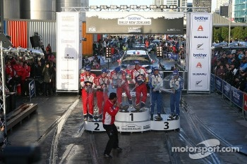 Podium: winners Sébastien Loeb and Daniel Elena, Citroën DS3 WRC, Citroën Total World Rally Team, second place Mikko Hirvonen and Jarmo Lehtinen, Citroën DS3 WRC, Citroën Total World Rally Team, third place Petter Solberg and Chris Patterson, Ford Fiesta