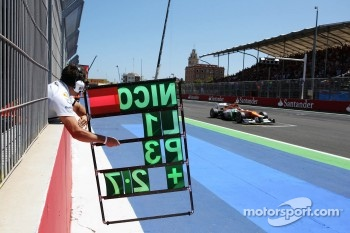 Pit board held out for Nico Hulkenberg, Sahara Force India F1