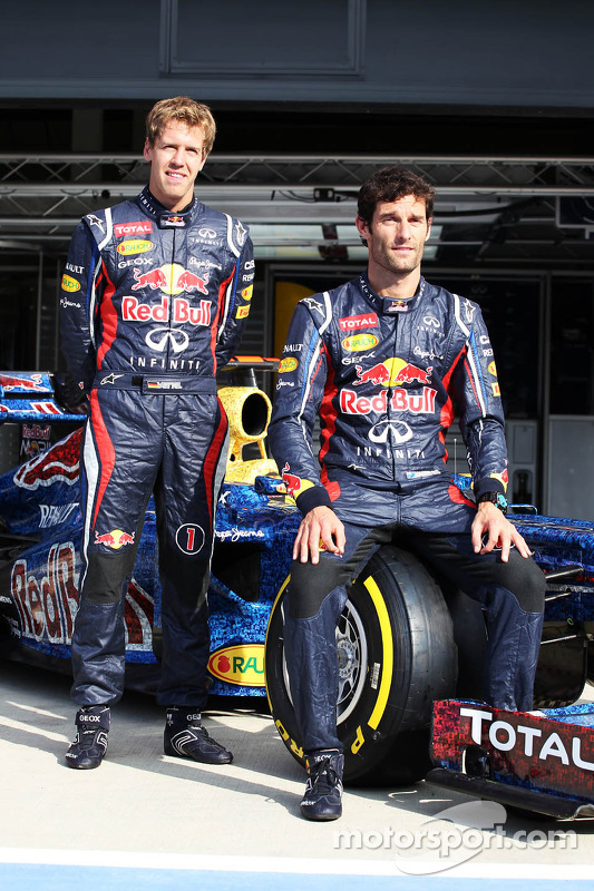Sebastian Vettel, Red Bull Racing and Mark Webber, Red Bull Racing with the Red Bull Racing RB8 with livery made up of 1000s images of fans