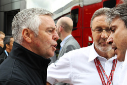 Derek Warwick, BRDC President with Richard Phillips, CEO Silverstone and Pasquale Lattuneddu, of the FOM