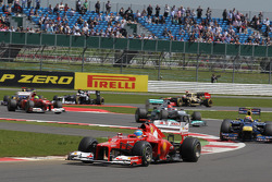 Fernando Alonso, Scuderia Ferrari leads the start of the race