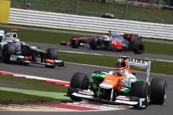Nico Hulkenberg, Sahara Force India Formula One Team leads Kamui Kobayashi, Sauber F1 Team