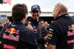 Christian Horner, Red Bull Racing Team Principal celebrates with Mark Webber, Red Bull Racing and Adrian Newey, Red Bull Racing Chief Technical Officer