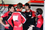 Max Chilton, Marussia F1 Team Test Driver talks with his Engineers