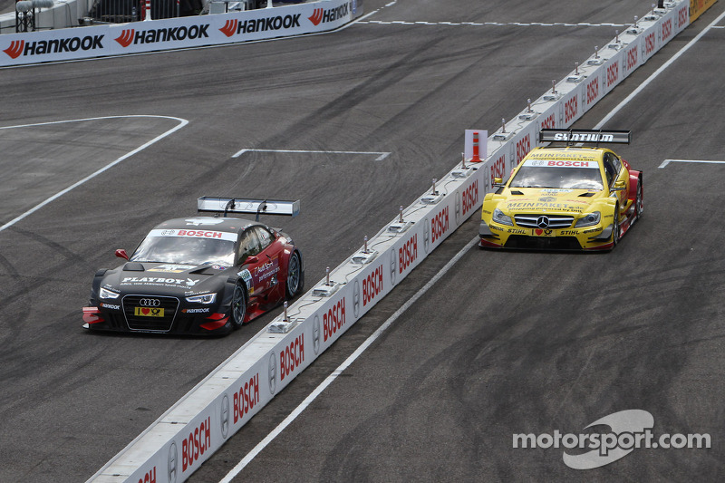 Sunday Round of 16 David Coulthard, Mücke Motorsport, AMG Mercedes C-Coupe against Edoardo Mortara, Audi Sport Team Rosberg Audi A5 DTM