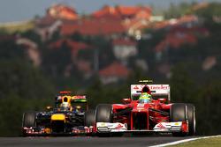 Felipe Massa, Ferrari leads Sebastian Vettel, Red Bull Racing