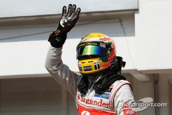 Lewis Hamilton, McLaren celebrates his pole position in parc ferme