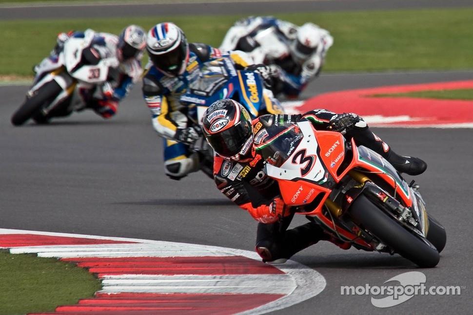 Max Biaggi leads his WorldSBK rivals at Silverstone