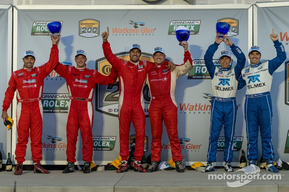 Race winners Lucas Luhr and Ryan Dalziel, second place Alex Popow and Sébastien Bourdais and third place Scott Pruett and Memo Rojas