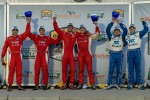 Race winners Lucas Luhr and Ryan Dalziel, second place Alex Popow and Sbastien Bourdais and third place Scott Pruett and Memo Rojas