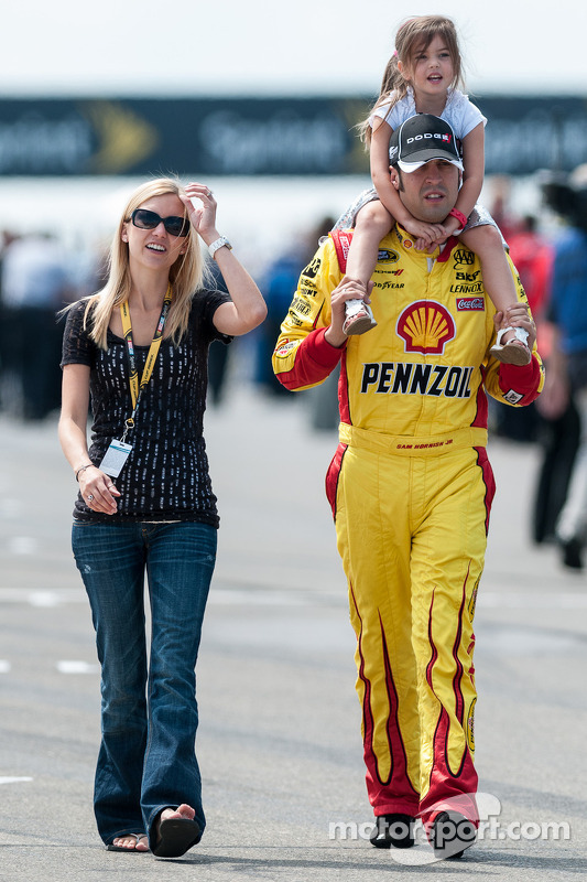 Sam Hornish Jr. with his wife Crystal and daughter Addison