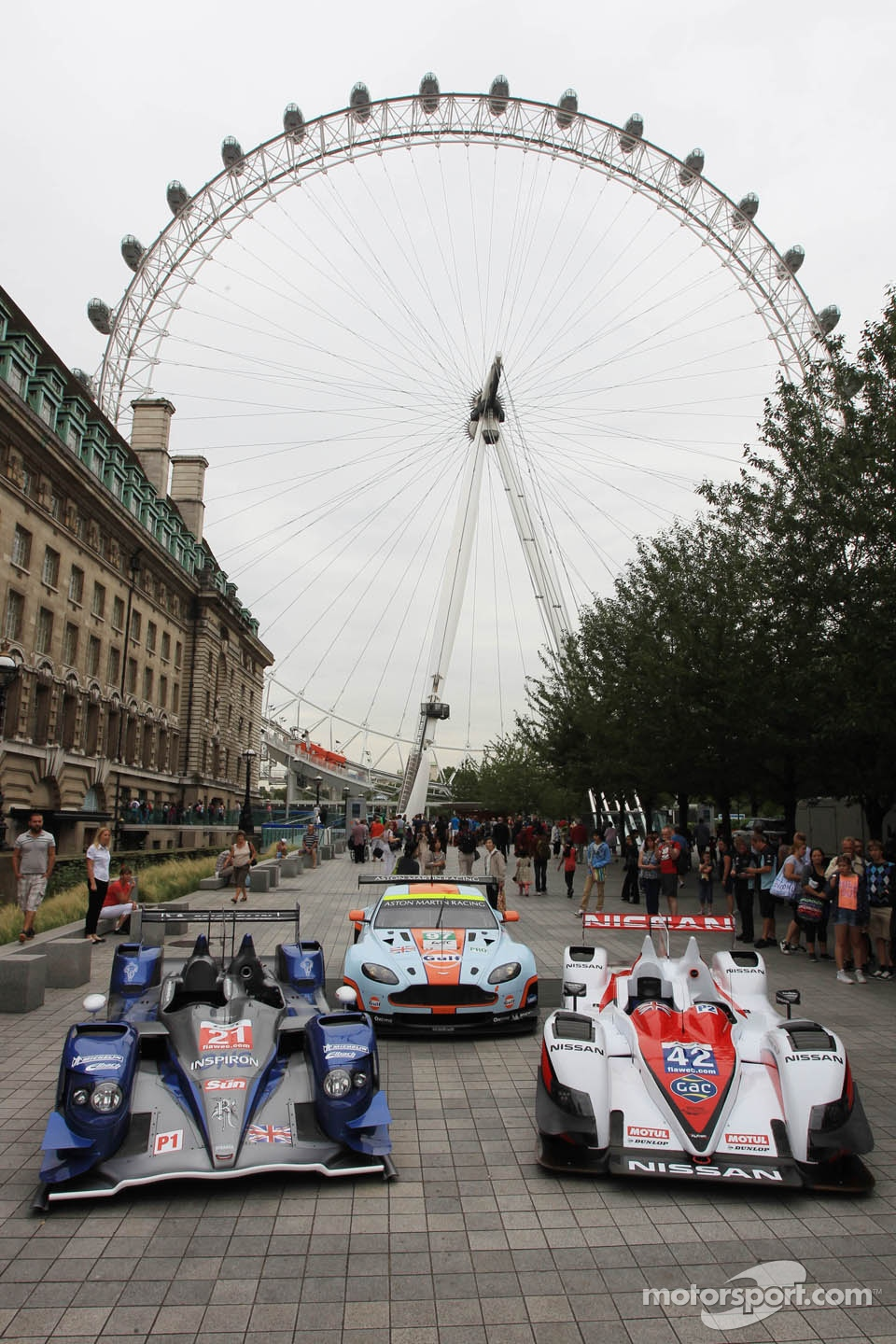 Cars lined up for a photoshoot near the London Eye