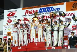GT300 podium: winners Hiroki Yoshimoto, Kazuki Hoshino and Hiroki Yoshida, second place Yuhi Sekiguchi, Katsumasa Chiyo and Daiki Sasaki, third place Manabu Orido, Takayuki Aoki and Keita Sawa