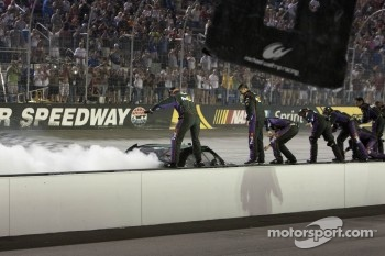 Race winner Denny Hamlin, Joe Gibbs Racing Toyota celebrates