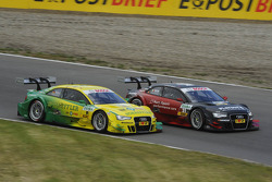 Mike Rockenfeller, Audi Sport Team Phoenix Racing Audi A5 DTM side by side with Edoardo Mortara, Audi Sport Team Rosberg Audi A5 DTM