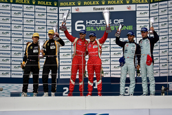 GTE-Pro podium: winners Giancarlo Fisichella, Gianmaria Bruni, second place James Walker, Jonny Cocker, third place Darren Turner, Stefan Mücke