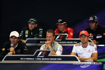 The FIA Press Conference, Vitaly Petrov, Caterham; Charles Pic, Marussia F1 Team; Jean-Eric Vergne, Scuderia Toro Rosso; Pedro De La Rosa, HRT Formula 1 Team; Michael Schumacher, Mercedes AMG F1; Jenson Button, McLaren