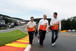 Paul di Resta, Sahara Force India F1 walks the circuit and climbs Eau Rouge with Gianpiero Lambiase, Sahara Force India F1 Engineer